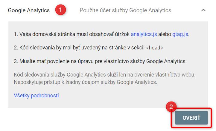 overenie vlastníctva Google Search Console Google Analytics