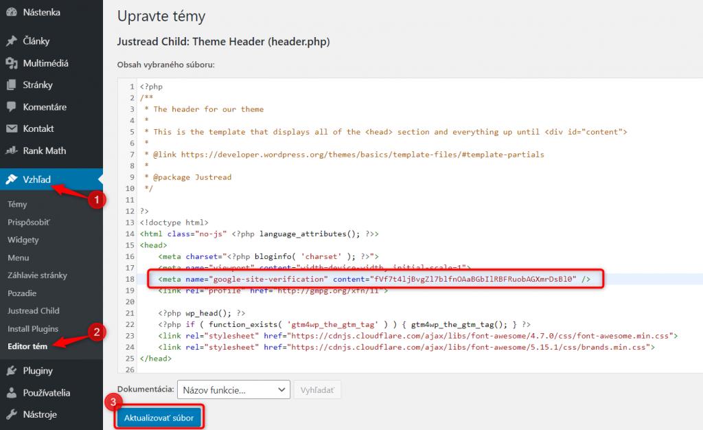 Wordpress verification Search Console meta tag