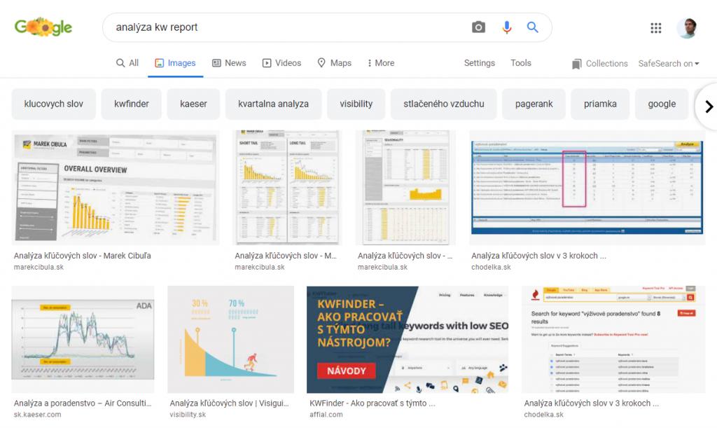 vyhľadávanie obrázkov impresie search console