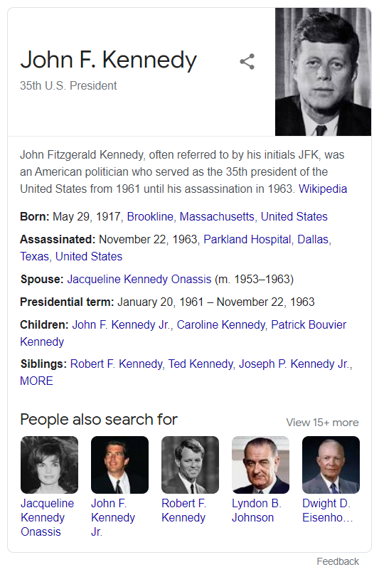 JFK knowledge graph rich snippet google